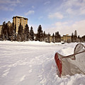 Chateau Lake Louise In Winter In Alberta Canada by Mark Duffy