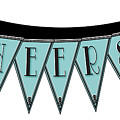 Pennant Deco Blues Streamer Sign Cheers by Cecely Bloom