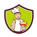 Chef Cook Bowl Pointing Crest Cartoon by Aloysius Patrimonio