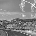 Chem Trails Over Valley Of Fire Black White  by Chuck Kuhn