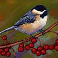 Cherries And Chickadee by Johnathan Harris