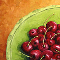 Cherries Green Plate by Richard T Pranke