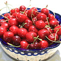 Cherries In Blue Bowl by Carol Groenen