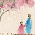 Cherry Blossom Tree Over The Bridge by Asha Sudhaker Shenoy