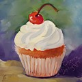 Cherry Delight Cupcake by Judy Fischer Walton