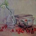 Cherry Still Life Pottery Red Still Life Art Still Life Painting Impressionist Painting Impression by Chao Liu