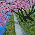 Cherry Trees- Pink Blossoms- Landscape Painting by Kathy  Symonds