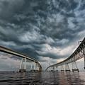 Chesapeake Bay Bridge Storm by Erika Fawcett