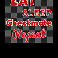 Chess Board Eat Sleep Checkmate Repeat Chess Player Gift by Kanig Designs