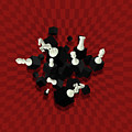Chessboard And 3d Chess Pieces Composition On Red by Creativemotions
