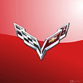 Chevrolet Corvette - 3d Badge On Red by Serge Averbukh