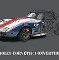 Chevrolet Corvette Convertible L88 1968,original Fast Race Car by Drawspots Illustrations