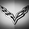 Chevrolet Corvette Emblem -0406bw by Jill Reger