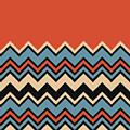 Chevron Orange Blue Beige Black Zigzag Pattern by Beverly Claire Kaiya