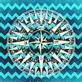 Chevron Print Compass Blue by Brandi Fitzgerald