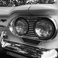 Chevy Corvair Headights And Bumper Black And White by Toby McGuire