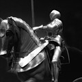 Chicago Art Institute Armored Knight And Horse Bw 01 by Thomas Woolworth