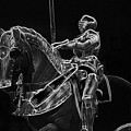 Chicago Art Institute Armored Knight And Horse Bw Pa 02 by Thomas Woolworth