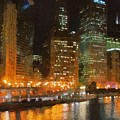 Chicago At Night by Jeffrey Kolker