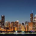 Chicago Downtown Skyline At Night by Semmick Photo