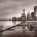 Chicago Foggy Lakefront Bw by Steve Gadomski