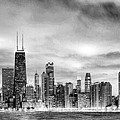 Chicago Gotham City Skyline Black And White Panorama by Christopher Arndt