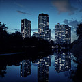 Chicago High-rise Buildings By The Lincoln Park Pond At Night by Bruno Passigatti