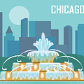Chicago Illinois Horizontal Skyline - Buckingham Fountain by Karen Young