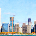 Chicago Illinois Skyline Painterly Triptych Plate Three Of Three 20180516 by Wingsdomain Art and Photography