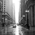 Chicago In The Rain B-w by Anita Burgermeister