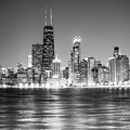 Chicago Lakefront Skyline Black And White Photo by Paul Velgos