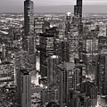 Chicago Loop Sundown B And W by Steve Gadomski