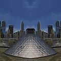 Chicago Millennium Park Bp Bridge Mirror Image by Thomas Woolworth
