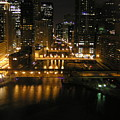 Chicago Night River Scene by Alice Markham