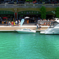 Chicago Parked On The River Walk Panorama 01 by Thomas Woolworth