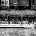 Chicago Parked On The River Walk Panorama 02 Bw by Thomas Woolworth