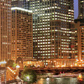 Chicago River At Night by Ann Higgens