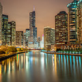 Chicago River At Night by James Udall