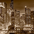 Chicago River City View B And W by Steve gadomski