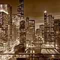 Chicago River City View B And W by Steve gadomski