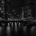 Chicago River Night Skyline by Kyle Hanson