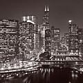 Chicago River Panorama B W by Steve Gadomski