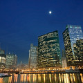 Chicago River With Skyline And Moon by Sven Brogren