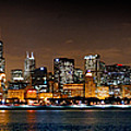 Chicago Skyline At Night Extra Wide Panorama by Jon Holiday
