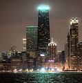 Chicago Skyline At Night North Ave Beach V2 Dsc1732 by Raymond Kunst
