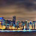 Chicago Skyline At Night Panorama Color 1 To 3 Ratio by Jon Holiday