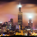 Chicago Skyline At Night Under Hazy Skies - 1x1 by Gregory Ballos