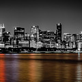 Chicago Skyline - Black And White With Color Reflection by Anthony Doudt