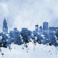 Chicago Skyline-blue 2 by Erzebet S