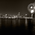Chicago Skyline Fireworks Bw by Steve Gadomski